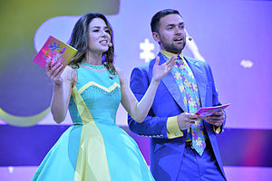 Zlata Ognevich - Ognevich and Timur Miroshnychenko hosting the 2013 Junior Eurovision Song Contest in Kiev
