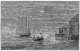 "Boston Vigilance Committee - ""Landing a fugitive slave at Drake's Wharf, South Boston, from the Yacht 'Moby Dick,' Capt. Austin Bearse, on the night of July 18, 1853"" by A.C. Rosser"