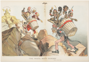 The White Man's Burden - The British John Bull and the American Uncle Sam bear The White Man's Burden (Apologies to Rudyard Kipling), taking the coloured peoples of the world to civilisation. (''Judge'' magazine, 1 April 1899)