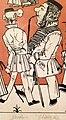 """""""Zug der Düsseldorfer Künstler"""" von 1837, Karikatur seiner malenden Zeitgenossen IV, Andreas Achenbach – Ausschnitt Rudolf Jordan (Rückseite), Johann Wilhelm Schirmer.jpg"""