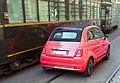 """ 15 - ITAlian red convertible - Fiat 500 C (2015) in Milan whit tram ATM (restaurant vehicle).jpg"