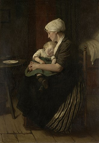 Lap - Late 18th-century Dutch painting of a baby asleep in its mother's lap