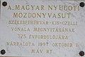 'Magyar nyugoti mozdonyvasút' 125 éves emléktábla, 2017 Várpalota.jpg