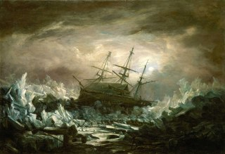 Perilous position of H.M.S. Terror, Captain Back, in the Arctic Regions in the summer of 1837