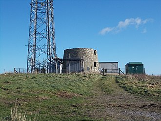 St. Catherine's Oratory - The 'Salt Cellar' or 'Salt Pot' (stone structure), now lying within the compound of a modern wireless station.