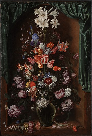 'Vase of Flowers with a Curtain', oil on panel painting by Jacques de Gheyn II, 1615