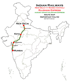 August Kranti Rajdhani Express route map