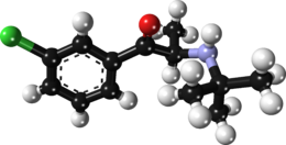 Ball-and-stick model of the bupropion molecule