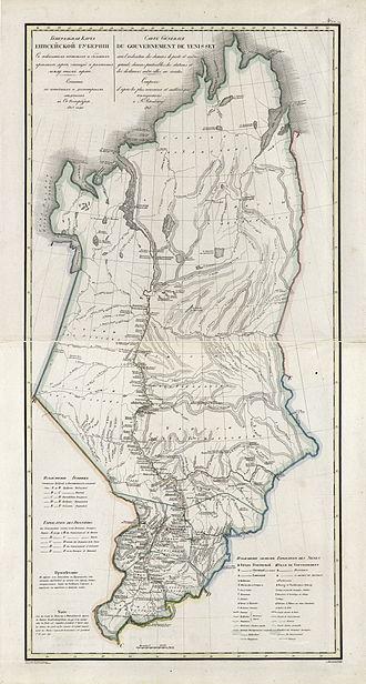 Yeniseysk Governorate - 1821 map of Yeniseysk Governorate