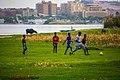 أطفال نوبيون يلعبون الكره على شاطئ النيل فى غرب أسوان.jpg