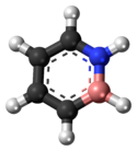 Ball-and-stick model of the 1,2-dihydro-1,2-azaborine molecule