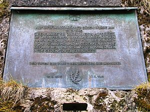"118th Jäger Division (Wehrmacht) - Memorial plaque at Hochosterwitz Castle. It reads: ""On 15 May 1945 on this historic soil the former 118th Jäger Division was disbanded. In gratitude for their fortunate return home and in memory of their fallen and missing comrades, the surviving members of the division erected this memorial plaque. Honor to the dead – a reminder to the living. 15 May 1945 – 30 May 1965"""