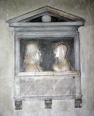 Santa Maria Incoronata, Milan - Image: 1458 Milano S. Maria Immacolata Tomba Matteo e Polissena Bossi (1500) Foto G. Dall'Orto, 24 Sep 2007