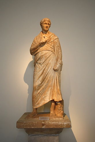 Eretria - Statue of a youth found in the gymnasium, now in the national archaeological museum in Athens
