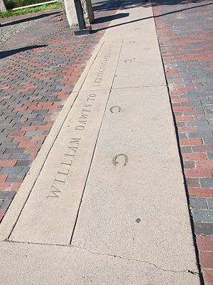 William Dawes - Memorial: William Dawes to Lexington. Location: Harvard Square, Cambridge, Massachusetts