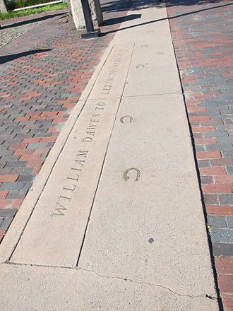 William Dawes - Memorial: William Dawes to Lexington. Location: Harvard Square, Cambridge, Massachusetts