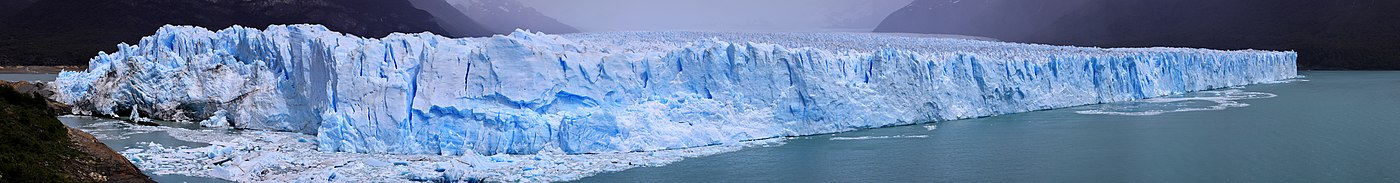 The Perito-Moreno Glacier, showing cracks in brittle upper layer