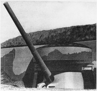"16""/50 caliber M1919 gun - A casemated 16-inch gun. Almost all batteries were casemated by 1940, including the M1919 gun batteries in New York and near Boston."