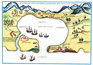 Battles of La Naval de Manila - A lithographic illustration of the Dutch harbour in Taiwan (after 1623).