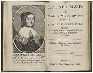 Anna Maria van Schurman - The title page and frontispiece of van Schurman's The learned maid, printed in 1659.