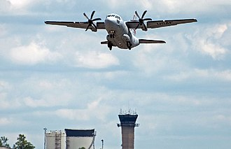 179th Airlift Wing - 179th Airlift Wing C-27J Spartan flying over Mansfield Control Tower