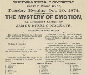 Steele MacKaye - MacKaye's lecture on the Mystery of Emotion at the Boston Music Hall, 1874