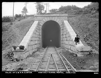 Central Massachusetts Railroad - The west portal of the tunnel under Wilson Hill in Clinton on June 17, 1903.