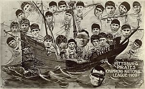 History of the Pittsburgh Pirates - The 1909 Pirates in a poster celebrating their National League pennant. Frank Chance of the Chicago Cubs and John McGraw of the New York Giants, two teams the Pirates beat for the pennant, are being made to walk the plank.