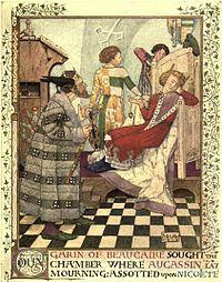 Dessin en couleur d'un roi en robe rouge, assis sur un trône, entouré de 3 personnages.