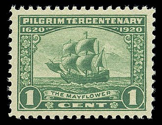 Mayflower - The Mayflower depicted on a 1920 U.S. postage stamp