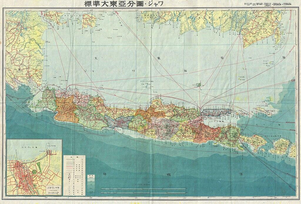 L'île de Java en Indonésie, ancienne colonie néerlandaise ici sur une carte japonaise de 1943.