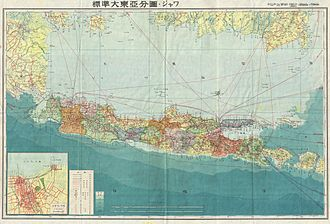 Japanese occupation of the Dutch East Indies - Map prepared by the Japanese during World War II, depicting Java, the most populous island in the Dutch East Indies.