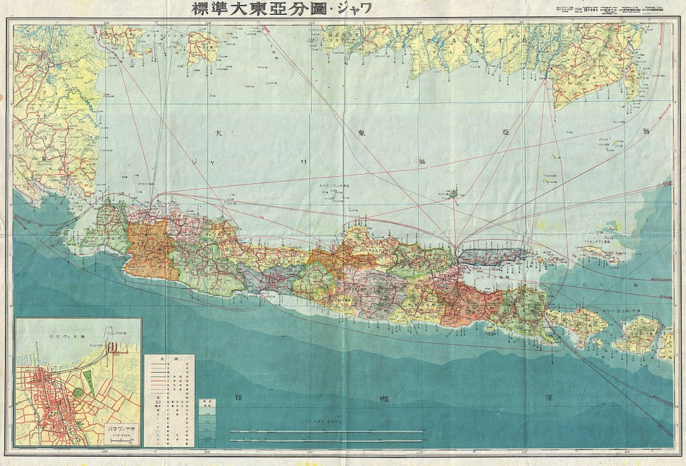 1943 World War II Japanese Aeronautical Map of Java - Geographicus - Java11-wwii-1943