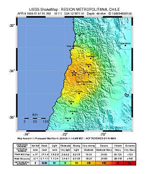 1985 Rapel Lake earthquake - USGS ShakeMap of the 1985 mainshock