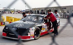 1994 Brickyard 400 - The car of Brad Teague in the garage area during practice.