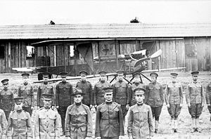 Aviation Section, U.S. Signal Corps - Members of the 1st Aero Squadron and a Burgess Model H trainer at North Island (later Rockwell Field), San Diego, California, 1915