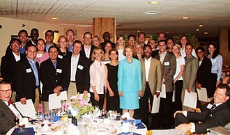 Julie Nixon Eisenhower - Eisenhower served as Chair of the White House Fellows program in the George W. Bush administration, pictured here with the 2003 class, Annapolis, Maryland