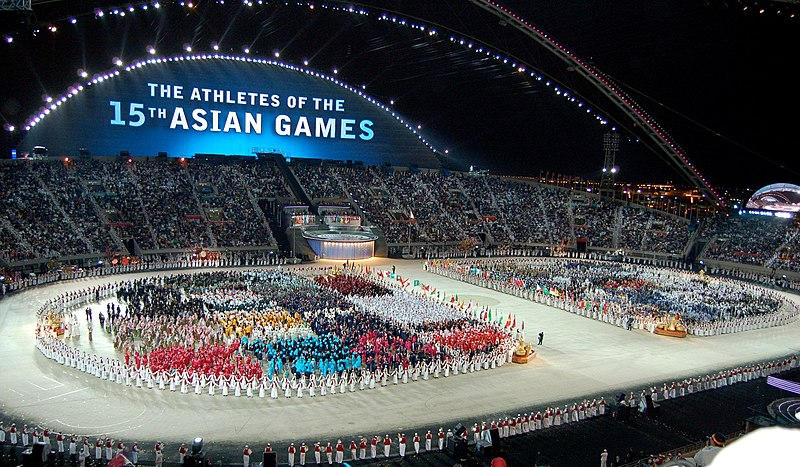 Ficheiro:2006 Asian Games athletes during opening ceremony.jpg