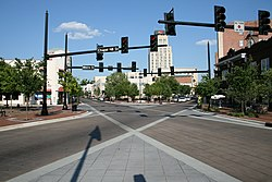 An intersection in downtown Durham