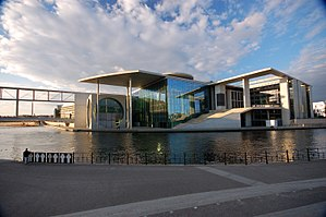 Bundestag - The Marie-Elisabeth-Lüders-Haus, one of the official buildings of the complex, housing the parliamentary library