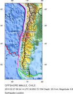 Map of Chile with the epicentrer location of the earthquake Image: USGS.