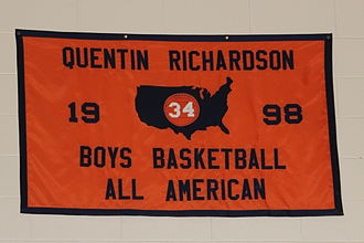 Quentin Richardson - Richardson's high school All-American banner at Whitney M. Young Magnet High School
