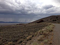 2014-07-28 13 25 27 View towards Berlin, Nevada from the south-southeast along the road to the fossil shelter in Berlin-Ichthyosaur State Park.JPG