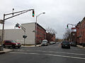 2014-12-20 15 05 50 A old traffic light painted green at the intersection of Perry Street and Montgomery Street in Trenton, New Jersey.JPG