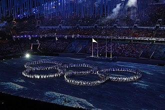 2014 Winter Olympics closing ceremony - Image: 2014 Winter Olympics closing ceremony, rings (2)