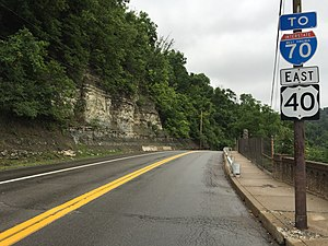 U.S. Route 40 in West Virginia - View east along US 40 in Wheeling