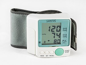 Sphygmomanometer - BP 120/74 mmHg as result on electronic sphygmomanometer