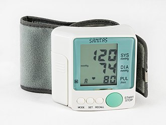 Sphygmomanometer - Sanitas BP 120/74 mmHg as result on electronic sphygmomanometer