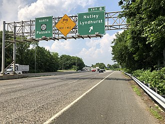 New Jersey Route 21 - View north along Route 21 at Exit 8 in Nutley