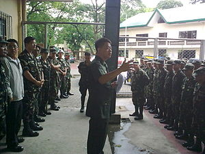 201st Infantry Battalion (Ready Reserve) - LTC SAL G DUMABOK MNSA (GSC) RES PA, commanding officer, 201IB(RR) gives instructions to his troops.